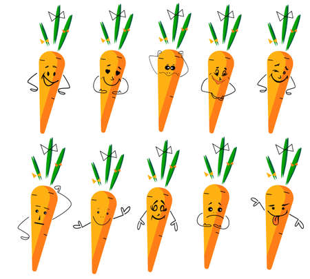 Set of funny cute carrots with different emotions. Smyle faces carrots.Vector stock elements for design in cartoon . Векторная Иллюстрация