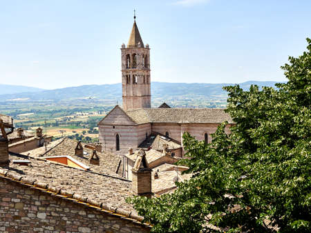 Italy Umbria Assisi summer, views of the city, narrow streets, medieval houses monuments
