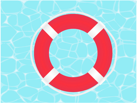 Vector illustration of a lifesave on water background Illustration