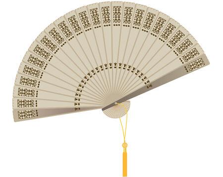 illustrazione vettoriale di una ventola di legno orientale