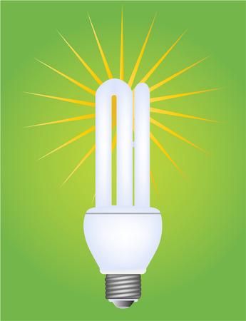 bombillo ahorrador: ilustraci�n vectorial de una bombilla el�ctrica fluorescente