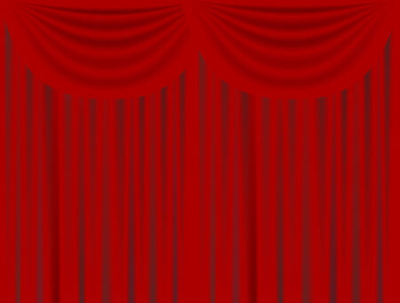 vector  illustration of a red stage velvet curtain