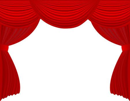vector  illustration of red velvet stage curtain
