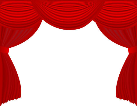 movie theater: vector  illustration of red velvet stage curtain