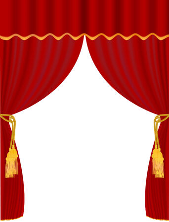 vector  illustration of red curtain on white