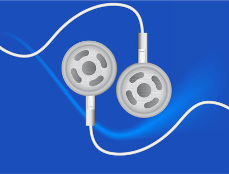music machine: vector  illustration of a pair of earbuds on blue background
