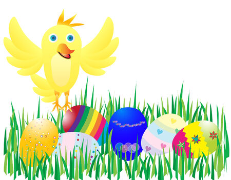 cr: vector  illustration of a yellow chicken and easter eggs Illustration