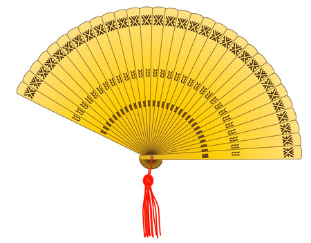 vector illustration of a oriental hand golden fan Ilustração