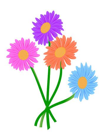 jednolitego: vector illustration czterech Gerbera kwiaty na białym
