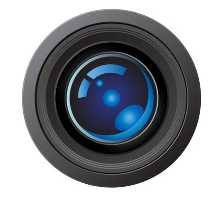 ilustración vectorial de un lente de la cámara aislada en blanco Ilustración de vector