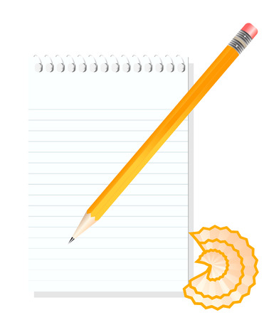 vector  illustration of a blank notebook and sharp pencil Stock Vector - 4244191