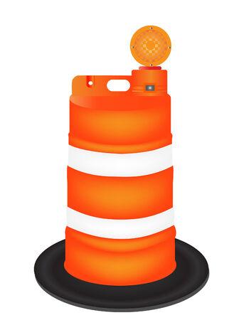 blocco stradale: illustrazione vettoriale di un barile arancione isolati su bianco Vettoriali
