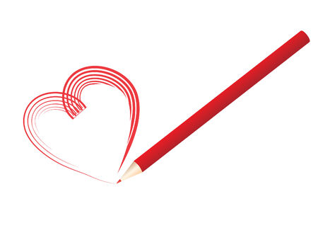 vector  illustration of a red pencil drawing a heart shape Vector