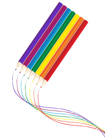 vector illustration of rainbow color pencils with swirl lines Stock Vector - 4244274