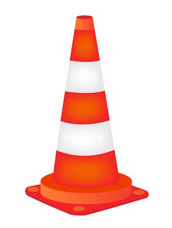 vector  illustration of a orange road cone