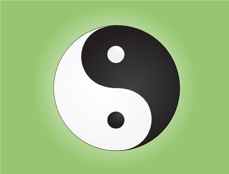 yan: Raster illustration of a single yin yang symbol