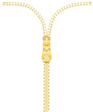 Raster illustration of golden zipper isolated on white Illusztráció