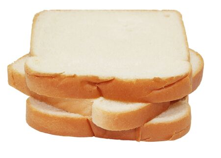 Three slices of bread isolated on white 免版税图像