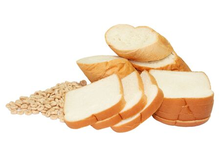 Cut loaf of bread and cereals isolated on white backgorund