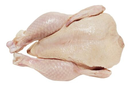 whole fresh chicken isolated on white background