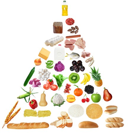 piramide alimenticia: Pir�mide alimentaria para las personas mayores aisladas sobre fondo blanco