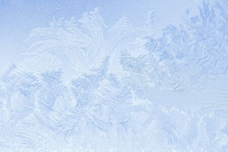 Beautiful natural frosty on glass for abstract background Stock Photo
