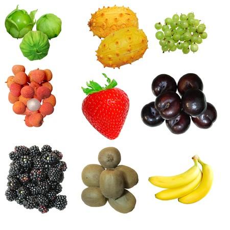 Set of fruits isolated on white background Archivio Fotografico