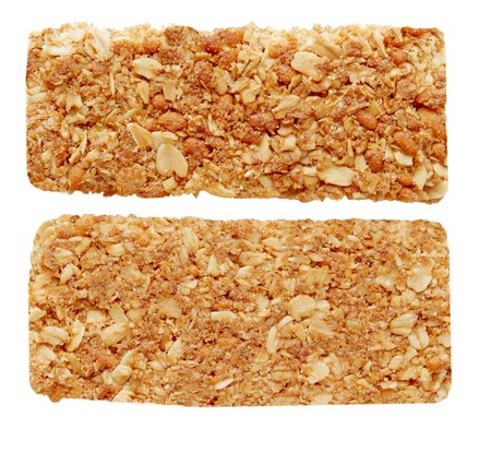 two sides of oat granola bar isolated on white photo