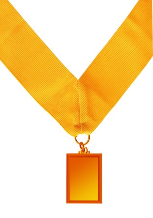 victor: rectangular gold medal isolated on white background Stock Photo