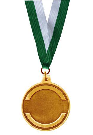 Single golden medal isolated on white background Stock Photo - 4237093