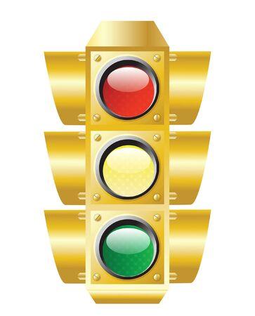 raster illustration of traffic light on white  Stock fotó