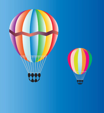 rainbow sky: vector of two hot air balloons on blue sky Illustration