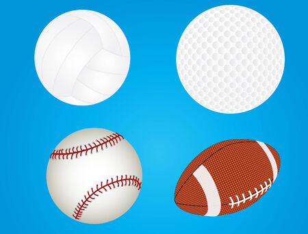afc: vector of baseball, golfball, volleyball, and football