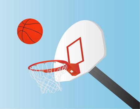 basketball net: vector de la bola de la cesta, red y tablero