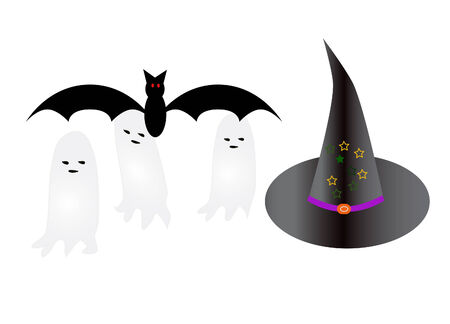 Vector a bat, ghosts and witch hat Stock Vector - 4244317