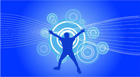 Vector of a jumping boy on abstract background Vector
