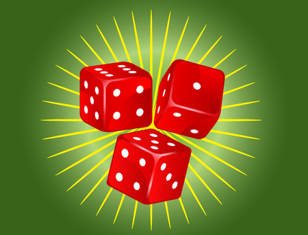 six objects: vector of three red dices on green