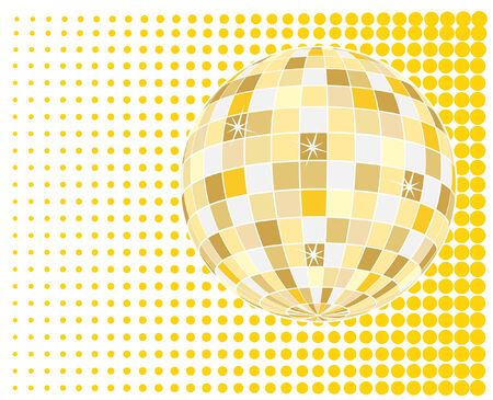 vector  of sparkling golden disco ball