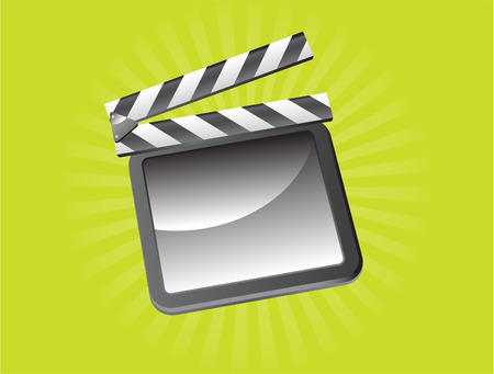 vector illustration of a film slate on green background Vector