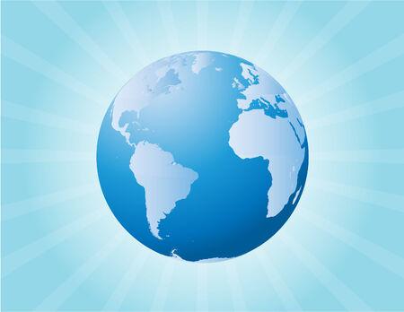 vector  illustration of a globe and sunburst Stock Vector - 4244455