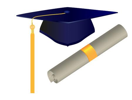 gorro de graduacion: ilustraci�n vectorial de la tapa y el diploma de graduaci�n