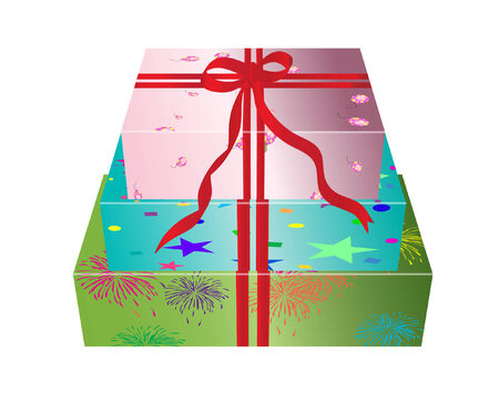 vector illustration of three floral gift boxes Stock Vector - 4244726