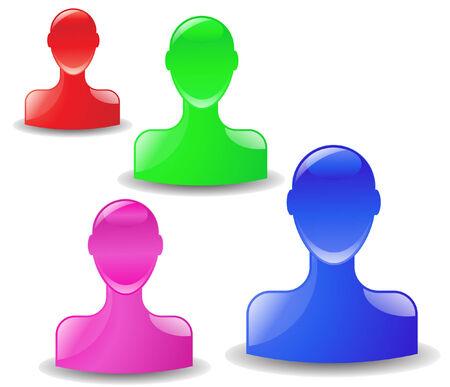 4 개의 인간의 머리의 집합의 벡터 일러스트 레이 션 다른 색