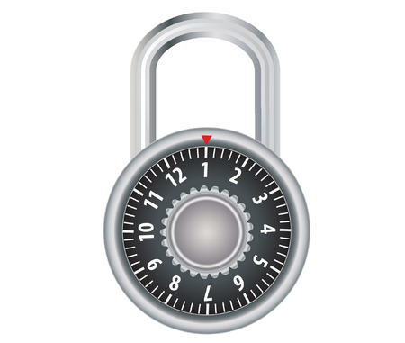 vector  illustration of a combination lock isolated on white Vector