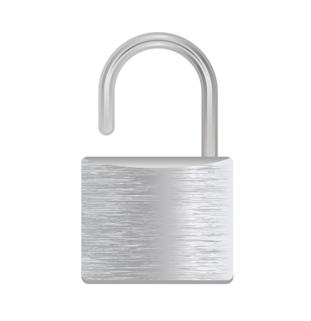 vector illustration of a silver padlock isolated on white Illustration