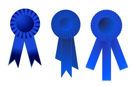 vector illustration of a set of three blue award ribbons Stock Vector - 4244415