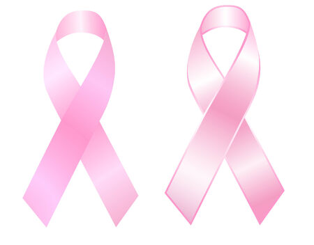 pink ribbons: vector illustration of a set of two pink ribbons