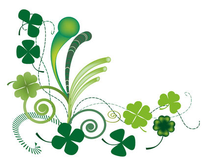 vector illustration of three and four clover leaves for Patricks Day Illustration