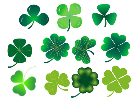 vector illustration of a set of shamrock leaves Stock Vector - 4244720