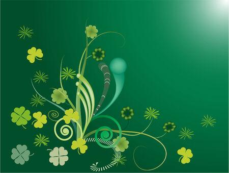 vector illustration of shamrocks on green background Stock Vector - 4244441